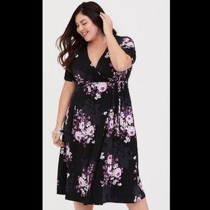Torrid Purple/Pink Floral Faux Wrap Dress Sz 3